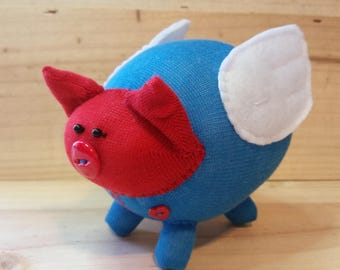Granger the flying pig, sock animal, handmade