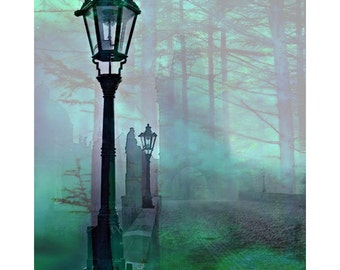 Fantasy forest, surreal cityscape, modern art, digital print, contemporary art, photomontage, magical, fine art print, digital art, wall art