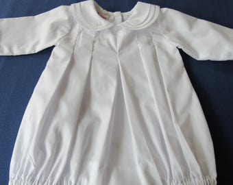 White baby bubble with embroidered collar