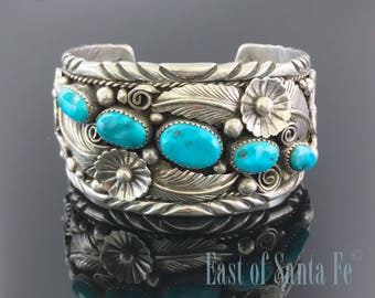 Gorgeous Turquoise Sterling Flower and Leaf Applique Cuff Bracelet Navajo Signed - Mike Thomas Jr
