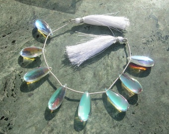 1/2 Strand AAA Mystic Rainbow Quartz Smooth Elongated Pear Shaped Briolettes Size 25x10mm Finest Quality Great Price