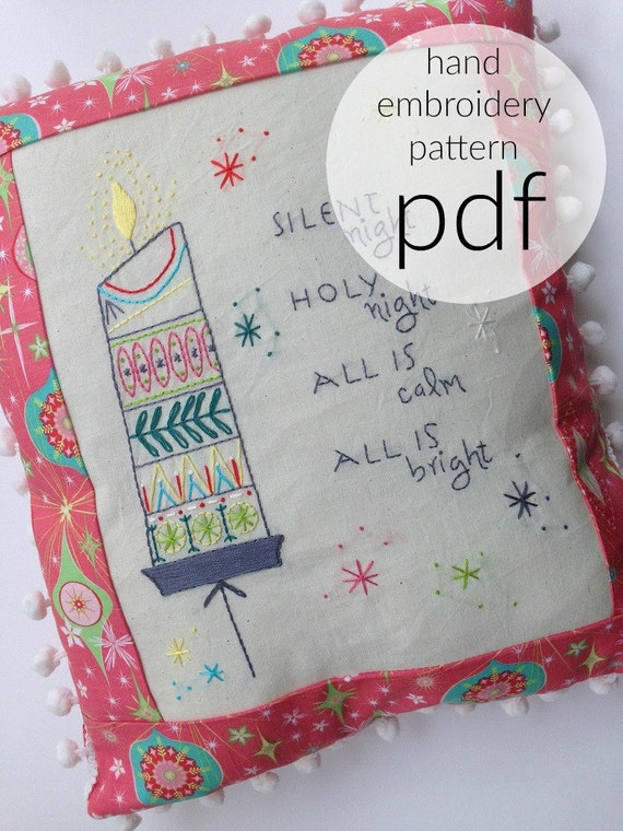 hand embroidery pattern  christmas embroidery  midmod vintage
