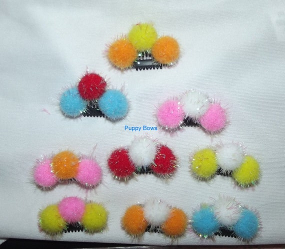 "Puppy Bows ~ Multi color SMALL pom pom NEW type comb snap clips 1"" lightweight  (fb35)"