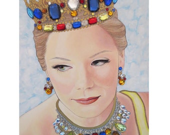 Bejeweled Beauties - Brittany Firmi - Mixed Media Art - ART PRINT - 8 x 10 - By Toronto Portrait Artist Malinda Prudhomme