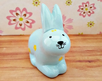 Blue Bunny Piggy Bank with Yellow Flowers, Bunny Piggy Bank, Piggy Bank, Blue Bank, Bunny Piggy Bank, Baby Bunny Bank, Baby Shower Gift
