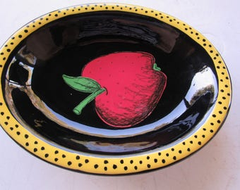Hand Painted Apple Bowl by Kay