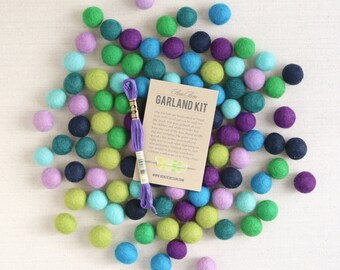 Felt Pom-Poms // Cools Palette (with optional Garland Kit) // Felt Balls, Rainbow Bundle, Garland DIY Kit, Cool Colored Beads, Felt Beads