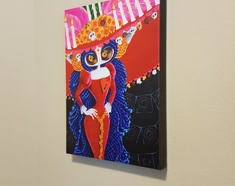 "The Majesty of Finality - 12x16"" Repro on Canvas - Inspired by La Muerte Book Of Life - MuseArt"