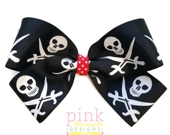 Large Skull and Swords Pirate Hair Bow