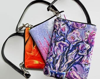 Mini LEATHER WALLET Bag.  Bridal Party Purse. Floral Abstract Photography.  Lavender Blue, Pink Wildflowers, Flame Designs.