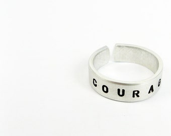 Inspirational Word Ring - Adjustable Ring Custom or Personalized  With Your Word of the Year (Courage)