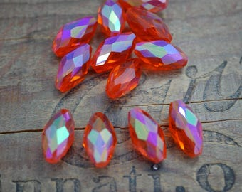 Vintage Cut Glass Bead Orange with AB Half Coat 20mm Bead Faceted Orange Bead (4) SV35