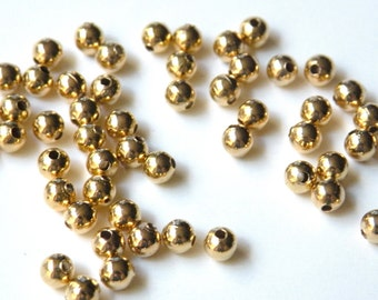 100 Round spacer ball beads smooth shiny gold plated brass 5mm 1473MB