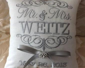 Ring Bearer Pillow,Mr. & Mrs. Ring Bearer Pillow. ring pillow, custom, personalized, wedding pillow I (RB101)