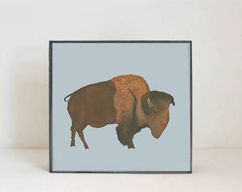 southwestern nursery art -buffalo wall art- animal prints- gender neutral baby- southwest children wall decor- nursery- bison, redtilestudio