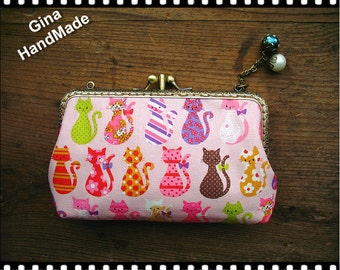 Candy cat iphone case two compartment / Coin purse / Wallet / Pouch / wedding clutch / kiss lock frame purse bag-GinaHandmade