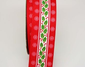 Holly Printed Grosgrain Ribbon -- 1.5 inches -- Christmas Holiday
