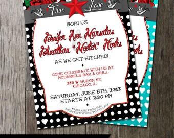 Rockabilly Wedding Invitation | Offbeat Wedding Invite | Polka Dots and tattoos wedding invitation digital printable