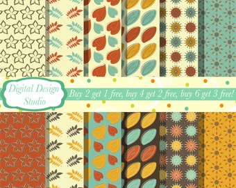 Autumn digital paper 12 sheet set. INSTANT DOWNLOAD for personal and commercial use.