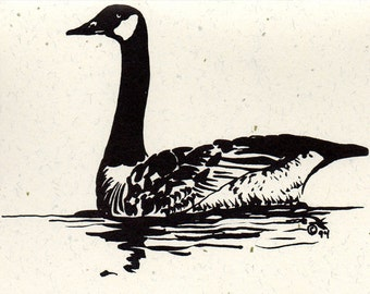 Wildlife Stationery - Pen and Ink - 5 Swimming Canada Goose Note Cards with Envelopes - Made in Michigan Note Cards - Tied with Raffia