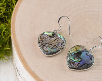 ABALONE SHELL Heart Earrings - Sterling Silver & Abalone Earrings, Paua Shell Earrings, Abalone Jewelry, Shell Jewelry Mother of Pearl E0715