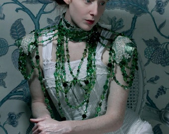 Absinthe -  Emerald Crystal Statement Necklace ~ Leather, Swarovski and Lace Collar with Secret Glass Phial.  To order
