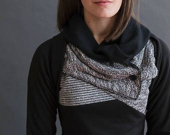 Elbow patch black cowl sweater with thumbholes. Stripes and color block detail, soft and unique sweater. Plus size, any size, custom sized.