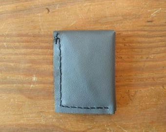 Minimal Leather Wallet, Handmade in Texas with Recycled Leather, Gray/Green