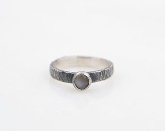 Gray Moonstone -  Stacking Ring  - Hammer Textured Band - Recycled Sterling Silver