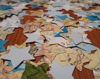 500 Map page star shaped confetti- party table scatter confetti - wedding table decoration