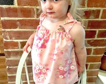 NEW!| Garden Top|  Summer| Pink| Cotton| Toddler| Shoulder Ties