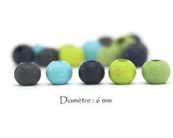stained wood - Diam 50 beads. 6 mm / hole: 1.6 to 2.2 mm - multicolor set
