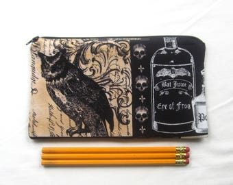 Owl, Bat and Potions Fabric Zipper Pouch / Pencil Case / Make Up Bag / Gadget Pouch