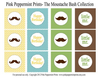 INSTANT DOWNLOAD The Mustache Bash Birthday Little Man Boy birthday party Collection PRINTABLE Party Labels