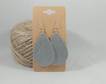 Handmade Leather Earrings - Medium Glitter - Repurposed Materials