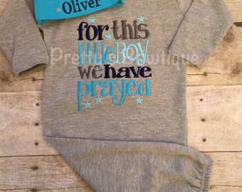 Newborn boy coming home outfit-- For this Little Boy I or WE have Prayed gown and hat