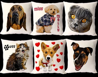 Budget Custom Pet Portrait Pillow, Cheap Dog Portrait Cushion, Cat Portrait, Custom Dog Cushion, Dog Pillow, Pet Cushion, Pet Owner Gift