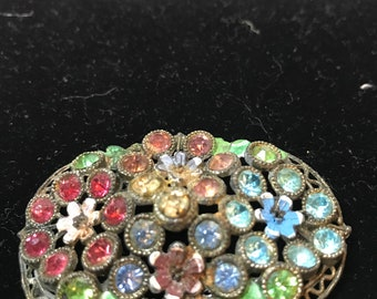 Antique BROOCH, Colored Rhinestones and Flowers
