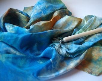 Play Silk Wand : Twirligig 'Starry Night' (Playsilk Streamer Wand) Waldorf Inspired Outdoor Toy