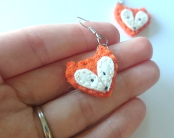 FOX earrings - wool felt animals jewelry - gift for her - woodland creatures
