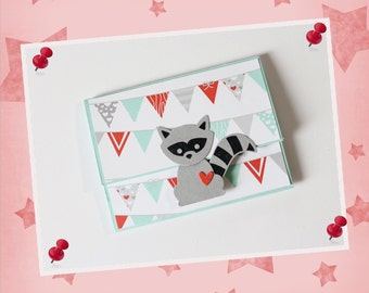 Gift wrap gift card raccoon
