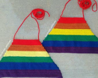 New handmade crochet festival  rainbow crop top