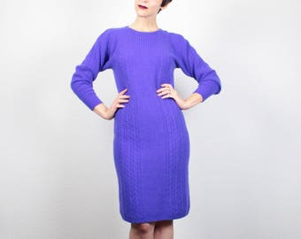 Vintage 1980s Dress Mini Dress Purple Sweater Dress 80s Dress Cable Knit Sweaterdress New Wave Knit Jumper Dress Midi Dress S Small M Medium
