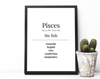 Prints, Pisces Prints, Zodiac Sign, Star Signs, Birthday Gift, Zodiac Prints