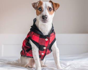 Lumberjack Fleece Dog hoodie, Dog jacket, Dog clothing, Puppy Coat, Dog Pullover, Dog flannel jacket, Dog winter coat, Limited Edition