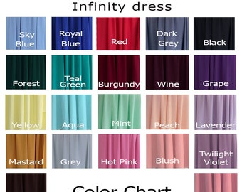 Fabric  color swatches for infinity dress