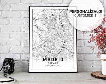 Poster map of Madrid (Spain) 30, 40 and 50. Custom text. Ideal sheet for decoration or as a gift.