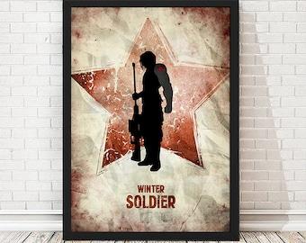 Grunge Winter Soldier Captain America Poster, Vintage Poster, Minimalist Poster, Avengers Print
