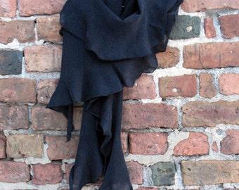Scarf Shawl Wrap Stole linen black