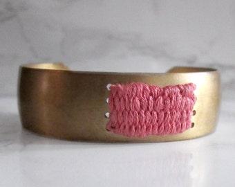 Brass Cuff Bracelet - woven tapestry - fabric bracelet - woven bracelet // PINK COTTON CUFF - minimal cuff bracelet
